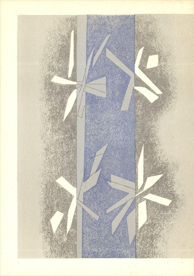1964 Andre Beaudin 'Composition (Lg)' Modernism Blue,Gray France Lithograph - Print by Andre Beaudin