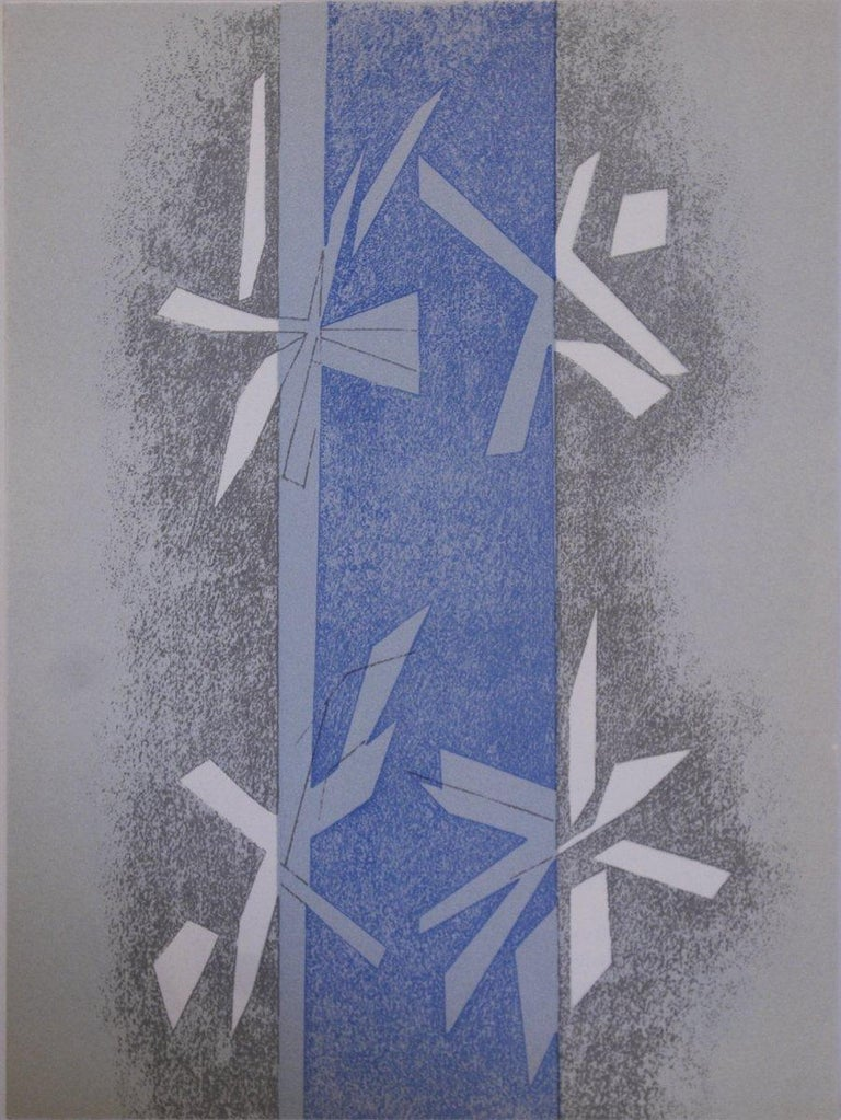 1964 Andre Beaudin 'Composition' Modernism Gray,Blue France Lithograph - Print by Andre Beaudin