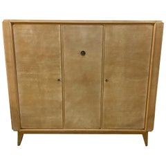 André Beaudoin, Art Deco Cabinet in Sycamore and Bronze, circa 1940-1950