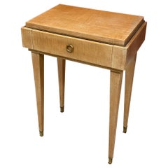 André Beaudoin, Art Deco Nightstand in Sycamore and Bronze, circa 1940-1950