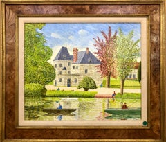 "Chateau d""Aquingny, Naive oil painting"