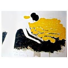 Andre Brasilier 'Femme avec Fleurs' Lithograph