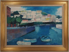 Italia : Boats in a Small Harbor - Original oil on canvas, Handsigned