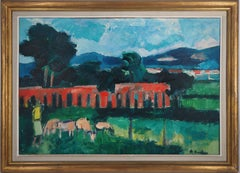 Italian Landscape (Tribute to Cezanne) - Original oil on canvas, Handsigned