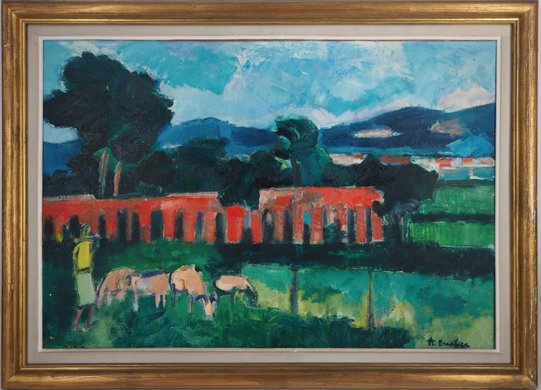 André Brasilier Landscape Painting - Italian Landscape (Tribute to Cezanne) - Original oil on canvas, Handsigned