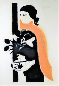 """""""Femme au Vase de Fleurs"""" large color lithograph"""
