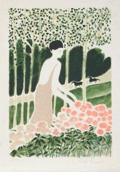 Femme avec Fleurs, Lithograph by Andre Brasilier