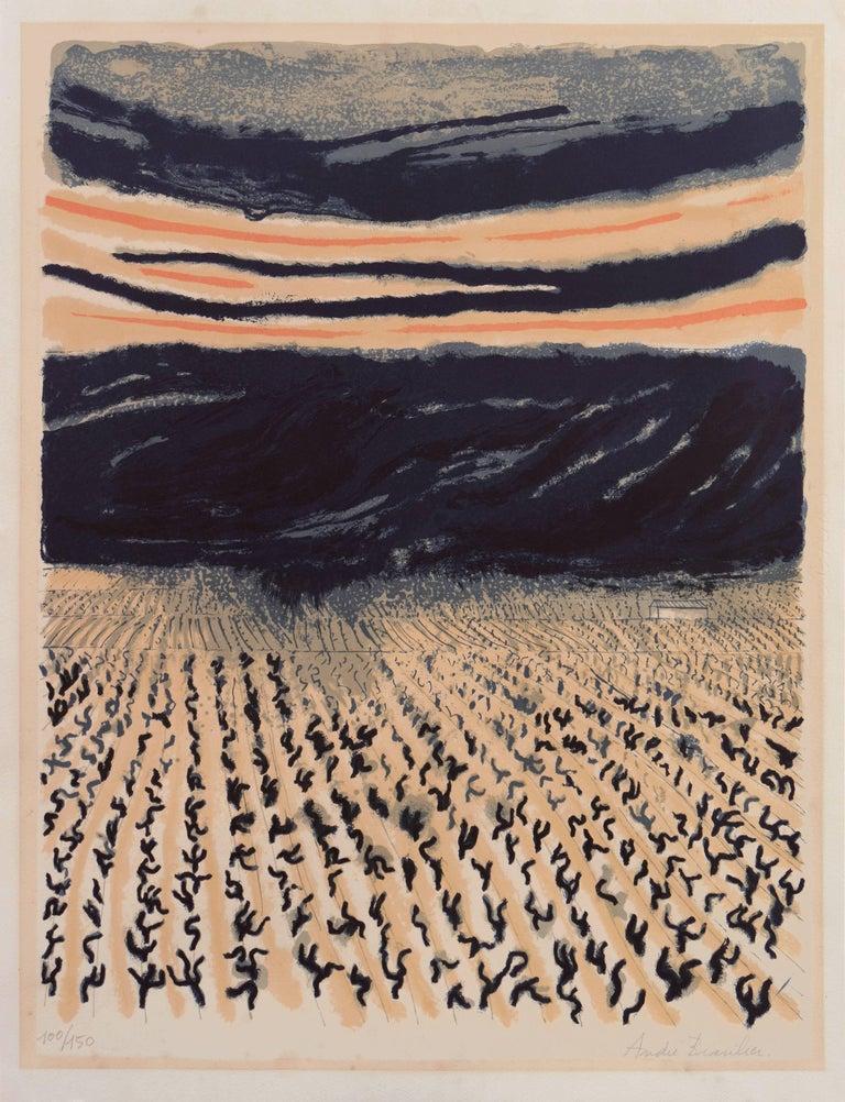 'Vineyard in Provence', Ecole Nationale des Beaux-Arts Paris, Hermitage, Benezit - Print by André Brasilier