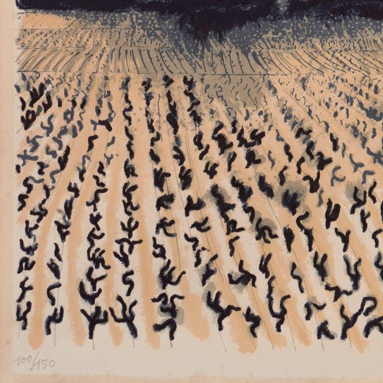 'Vineyard in Provence', Ecole Nationale des Beaux-Arts Paris, Hermitage, Benezit - Brown Landscape Print by André Brasilier