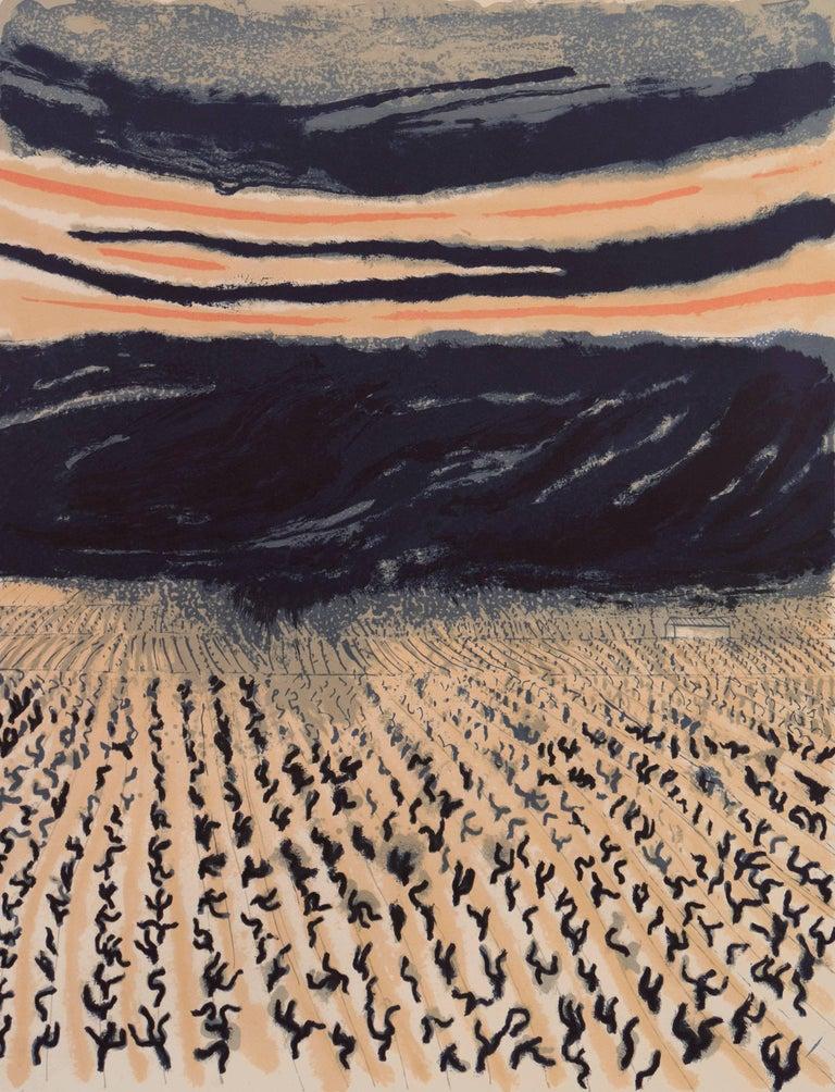 André Brasilier Landscape Print - 'Vineyard in Provence', Ecole Nationale des Beaux-Arts Paris, Hermitage, Benezit