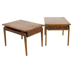 Andre Bus for Lane Perception Mid Century Walnut Side End Tables, a Pair