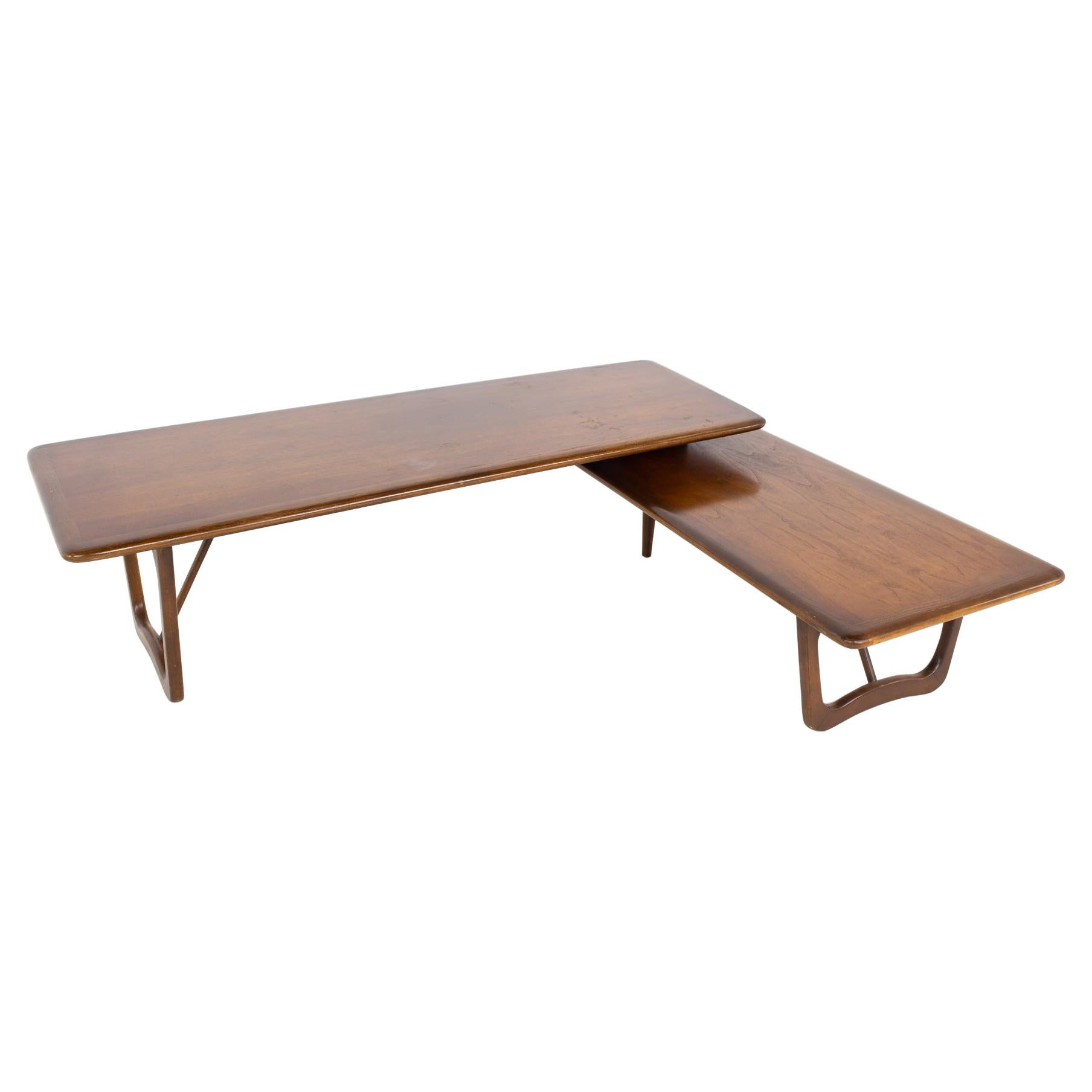 Andre Bus for Lane Perception Mid Century Walnut Switchblade Coffee Table