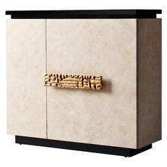 Andre Cabinet by DeMuro Das in Ivory Carta and Metal Handle in Bronze Finish