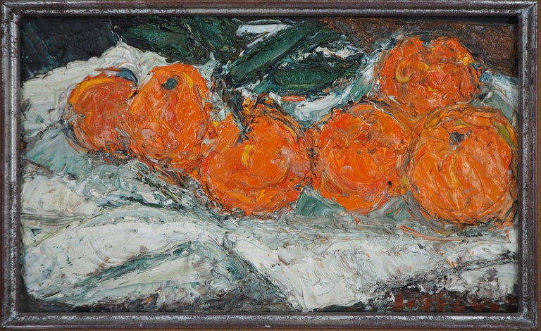 Still Life with Oranges - Original oil painting, Signed - Modern Painting by André Cottavoz