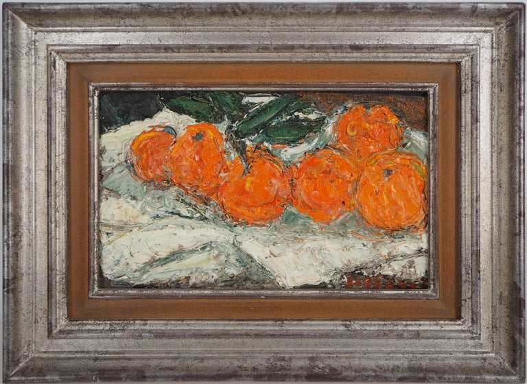 André Cottavoz Landscape Painting - Still Life with Oranges - Original oil painting, Signed