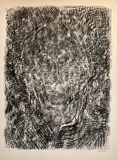 French Modernist Abstract Portrait Lithograph (After Jasper Johns)
