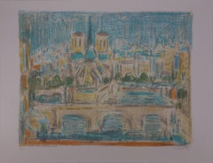 Paris : Notre Dame Viewed from the Seine - Handsigned lithograph (Mourlot 1973)