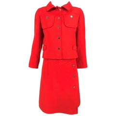Andre Courreges 1960s Mod Two Piece Suspender Dress and Jacket 1960s