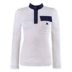 ANDRE COURREGES c.1970's Blue & White Signature Logo Print Pullover Shirt Top