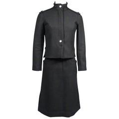 André Courrèges Haute Couture Skirt Suit In Black Wool Circa 1968/1975