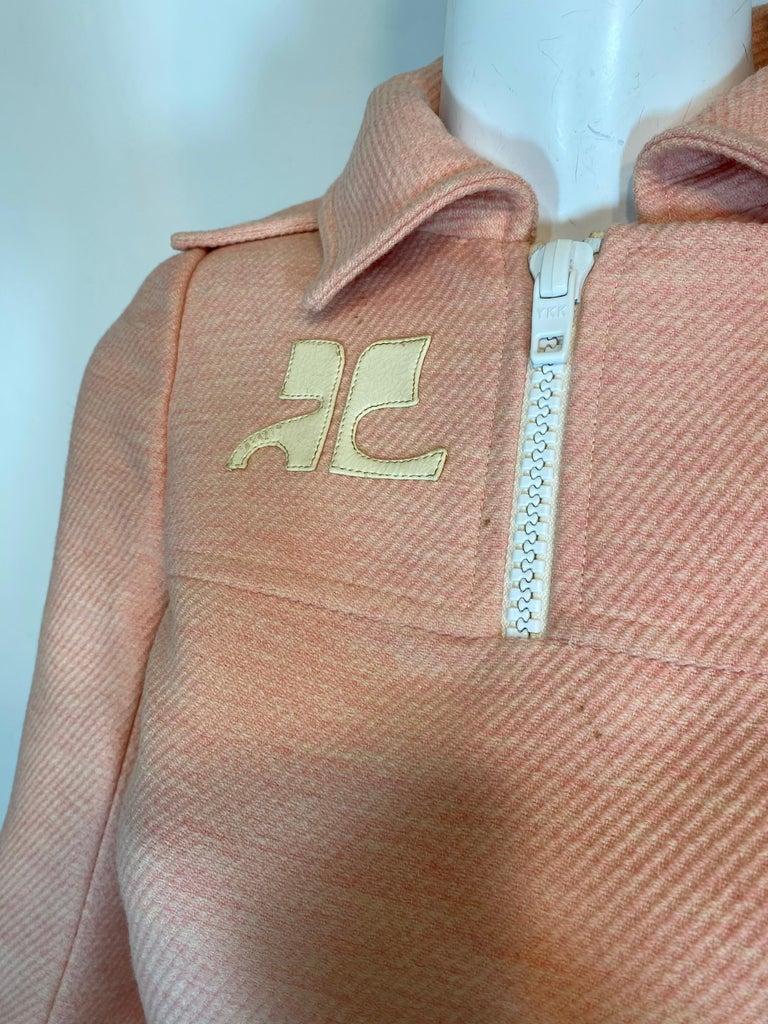 Andre Courreges numbered Pink Wool Jacket Skirt Set 1970's For Sale 5