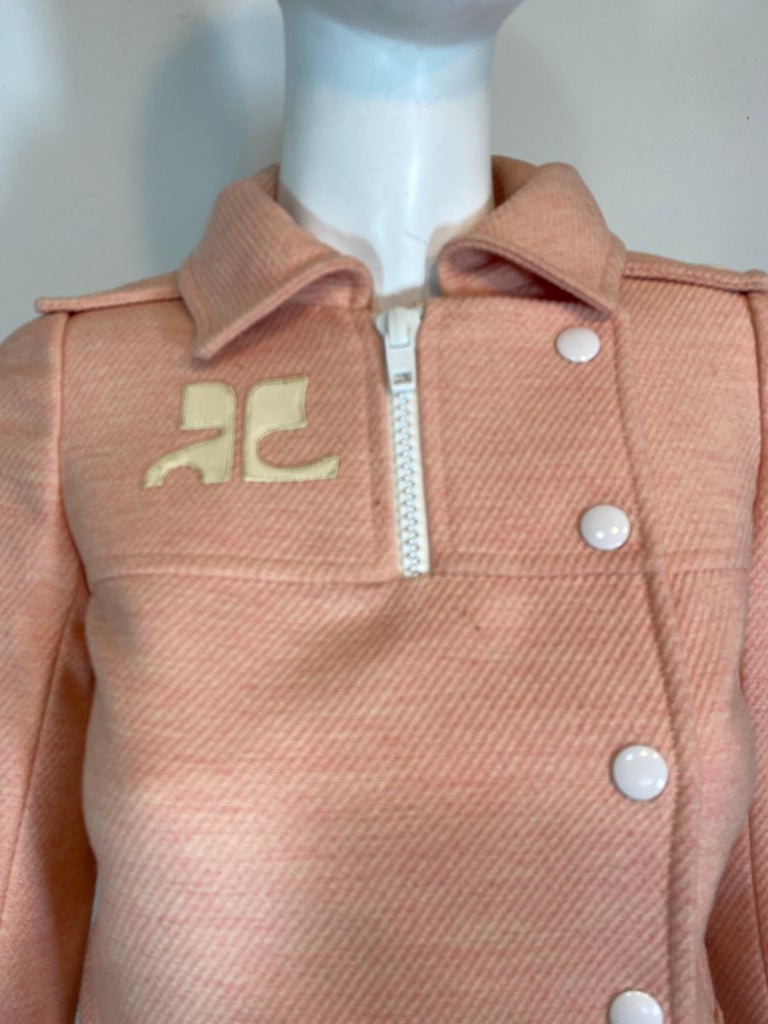 Andre Courreges numbered Pink Wool Jacket Skirt Set 1970's For Sale 7