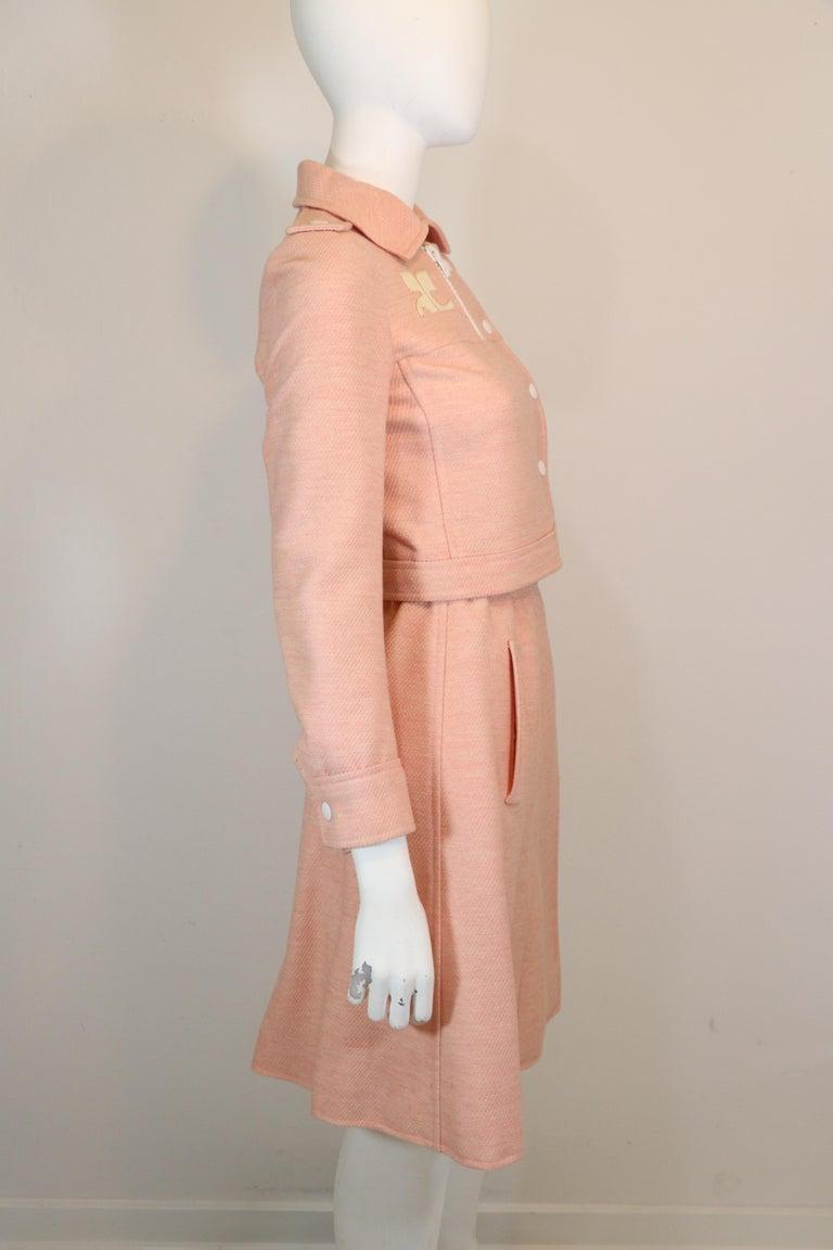 Beige Andre Courreges numbered Pink Wool Jacket Skirt Set 1970's For Sale