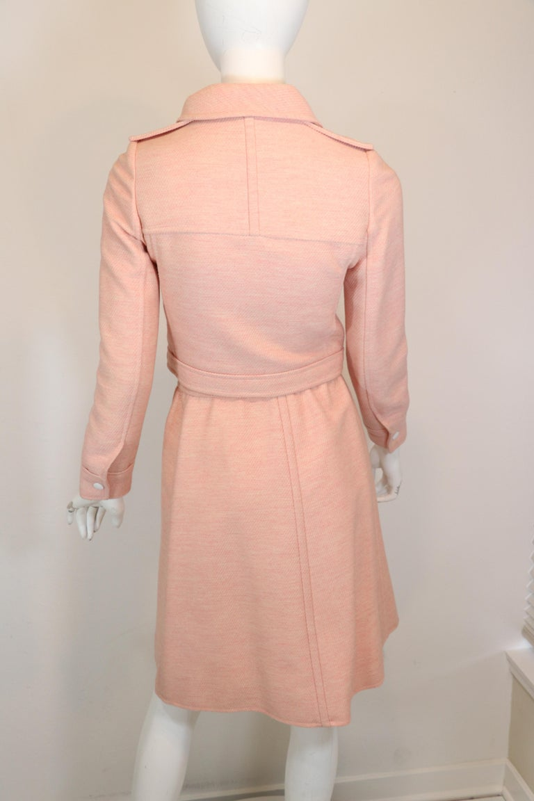 Andre Courreges numbered Pink Wool Jacket Skirt Set 1970's In Good Condition For Sale In Carmel by the Sea, CA