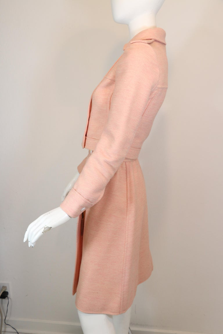 Women's Andre Courreges numbered Pink Wool Jacket Skirt Set 1970's For Sale