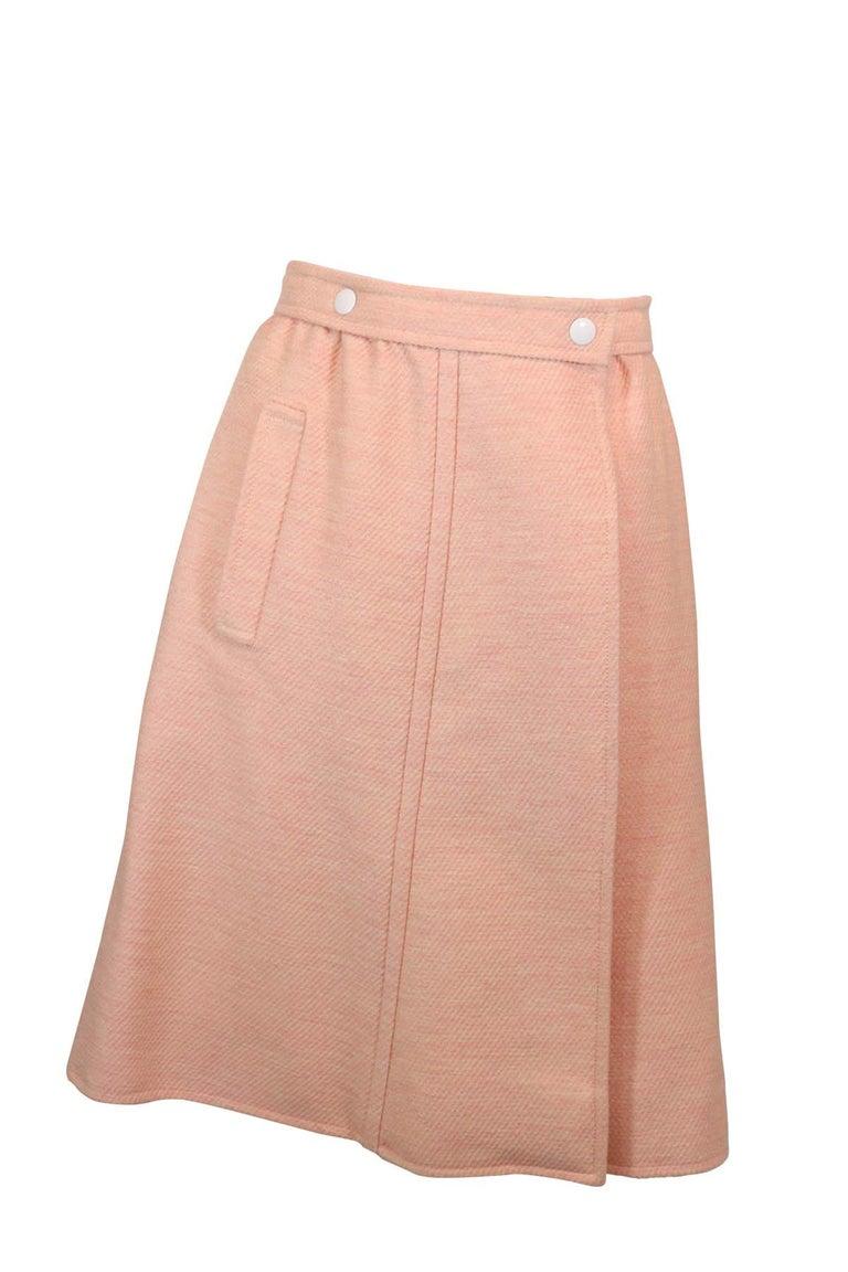 Andre Courreges numbered Pink Wool Jacket Skirt Set 1970's For Sale 1