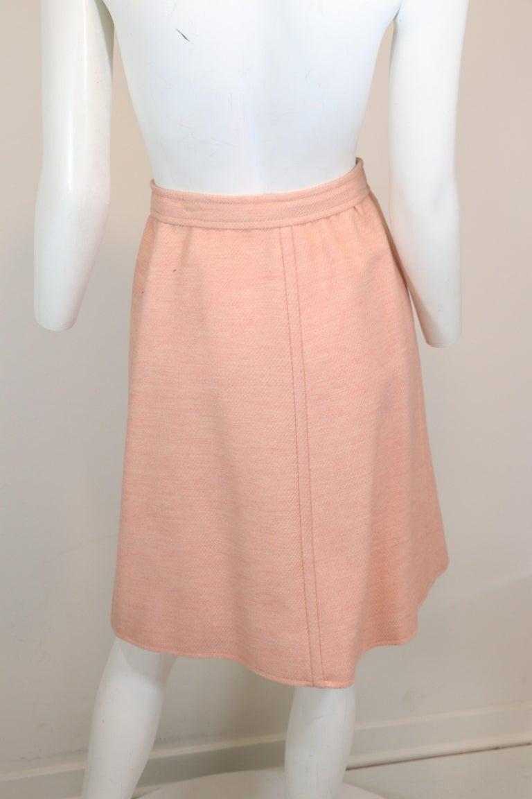 Andre Courreges numbered Pink Wool Jacket Skirt Set 1970's For Sale 2