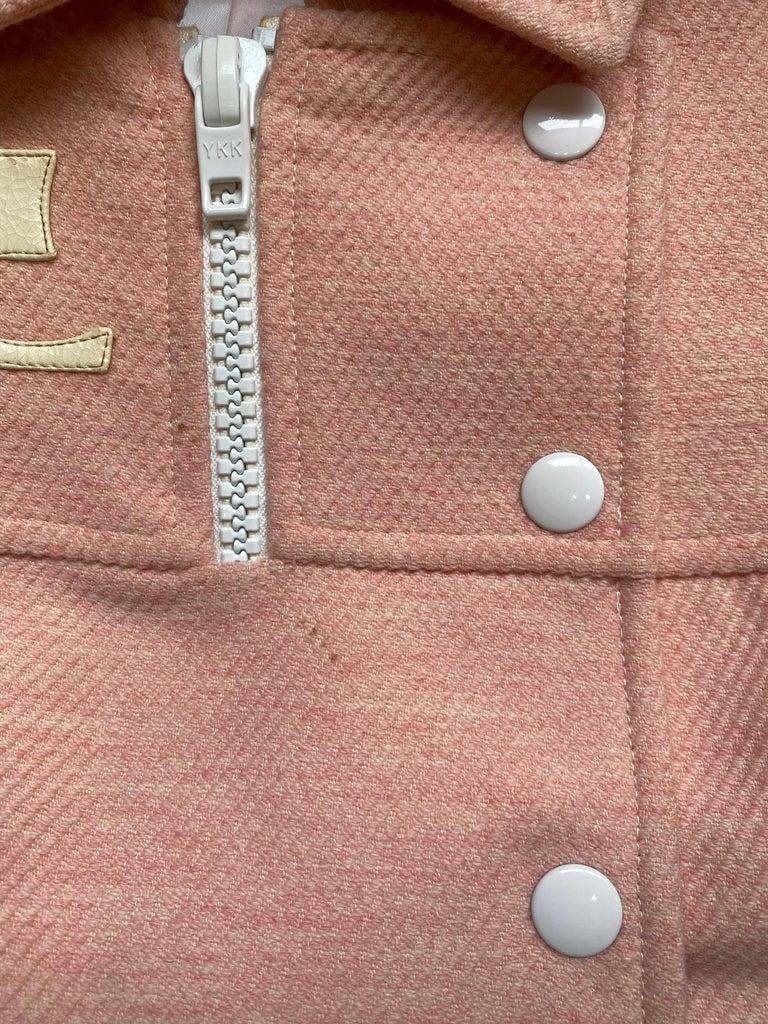 Andre Courreges numbered Pink Wool Jacket Skirt Set 1970's For Sale 3