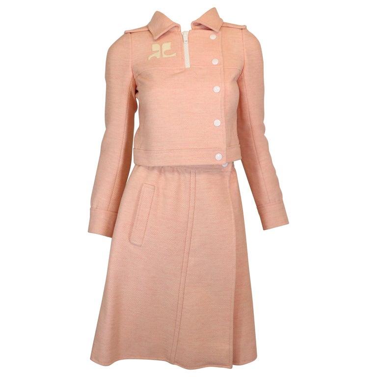 Andre Courreges numbered Pink Wool Jacket Skirt Set 1970's For Sale