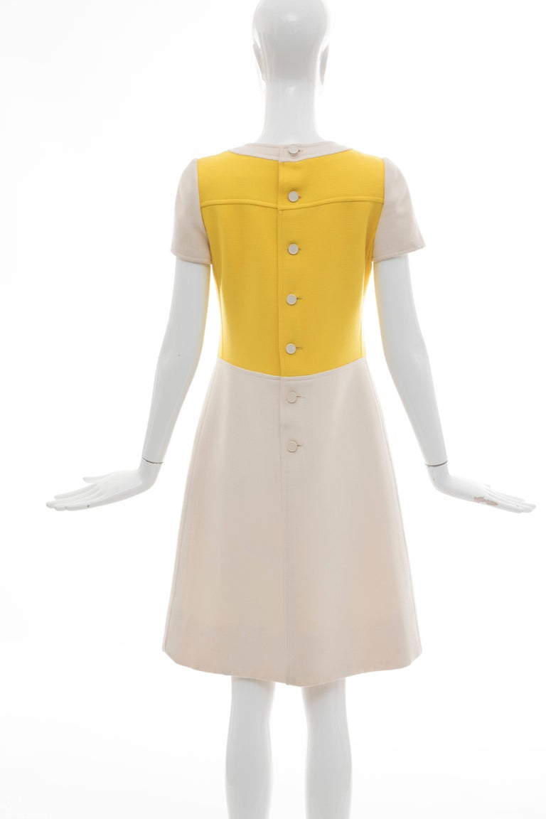Andre Courreges Yellow Cream Wool A-Line Dress With Cap Sleeves, Circa 1960's In Excellent Condition For Sale In Cincinnati, OH