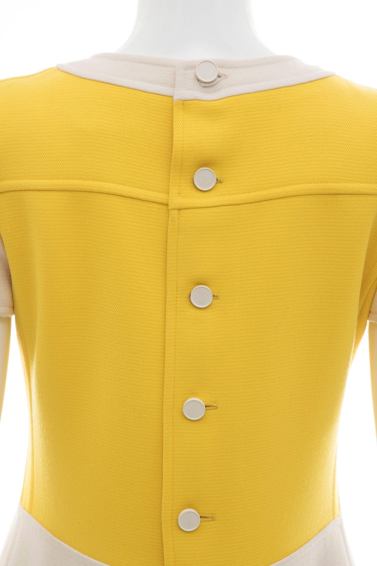 Andre Courreges Yellow Cream Wool A-Line Dress With Cap Sleeves, Circa 1960's For Sale 4