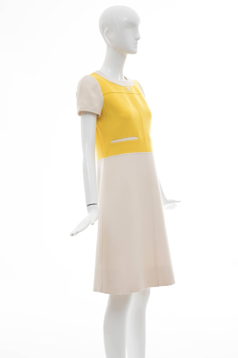 Women's Andre Courreges Yellow Cream Wool A-Line Dress With Cap Sleeves, Circa 1960's For Sale