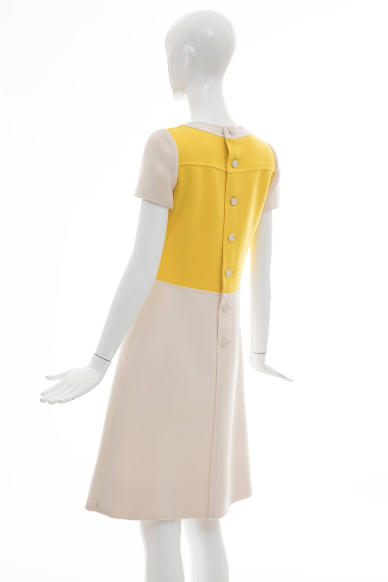 Andre Courreges Yellow Cream Wool A-Line Dress With Cap Sleeves, Circa 1960's For Sale 5