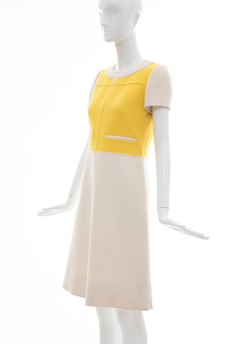 Andre Courreges Yellow Cream Wool A-Line Dress With Cap Sleeves, Circa 1960's For Sale 7