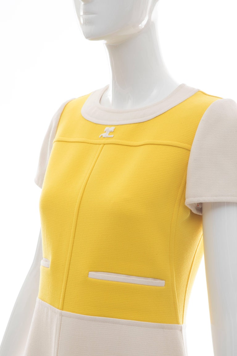 Andre Courreges Yellow Cream Wool A-Line Dress With Cap Sleeves, Circa 1960's For Sale 1