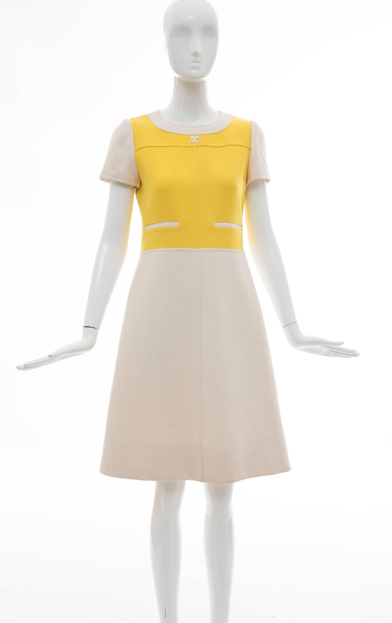 Beige Andre Courreges Yellow Cream Wool A-Line Dress With Cap Sleeves, Circa 1960's For Sale