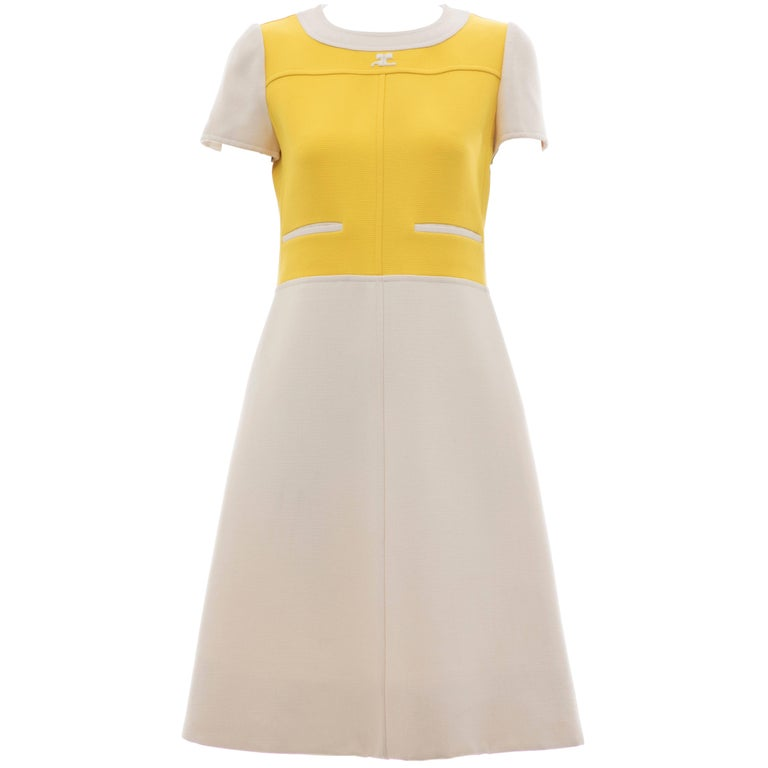 Andre Courreges Yellow Cream Wool A-Line Dress With Cap Sleeves, Circa 1960's For Sale
