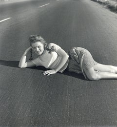 Marilyn Monroe 'Norma Jeane' Lying on Asphalt Vintage Original Photograph