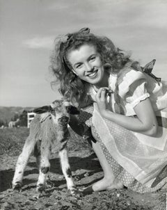 Marilyn Monroe 'Norma Jeane' Posed with Lamb Vintage Original Photograph