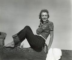 Marilyn Monroe 'Norma Jeane' Posing on Wood Fence Vintage Original Photograph