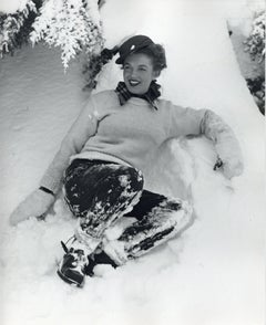 Marilyn Monroe 'Norma Jeane' Smiling in the Snow Vintage Original Photograph