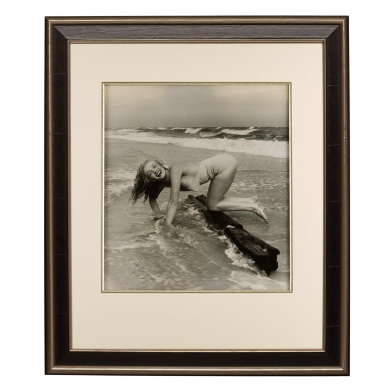 Marilyn Monroe by André de Dienes,  'Playful on the Beach', Black and White - Print by Andre de Dienes