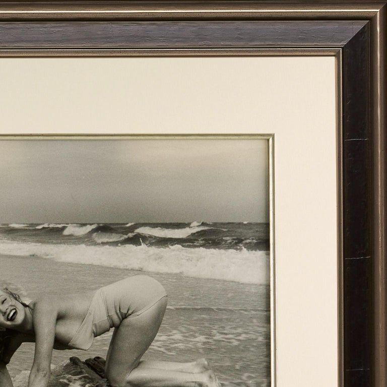 Marilyn Monroe by André de Dienes,  'Playful on the Beach', Black and White - Contemporary Print by Andre de Dienes