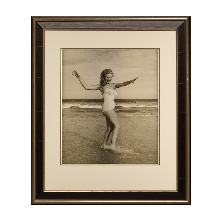 Marilyn Monroe playing on the Beach, 1949. A black and white portrait. For Sale 1