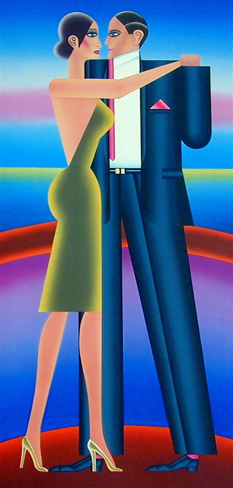 THE DANCE, Signed Lithograph, Art Deco, Tango, Neon Colors  For Sale 1