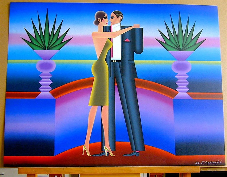 THE DANCE, Signed Lithograph, Art Deco, Tango, Neon Colors  For Sale 3